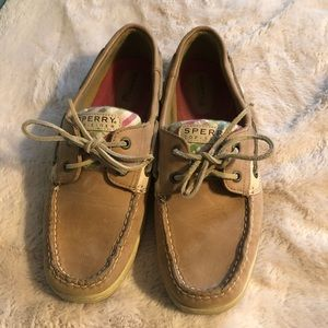 Sperry Pink and Green Striped Boat Shoes